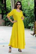 Yellow Anarkali Ethnic Elegant Bollywood Casual Mirror Work Embroidered Kurti