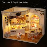 Dollhouse Miniature Furnitures DIY Kit Wood Toy Doll House Cottage W/LED lights