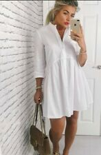 ZARA White Poplin Shirt Dress UK M 8 10 12 Blogger Fav