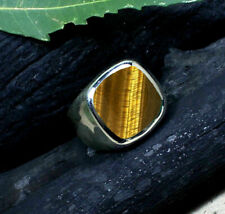 Fine Tiger Eye Gemstone Solid 925 Sterling Silver Handmade Mens Ring Jewelry RK