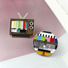 Classic Vintage TV Brooches Rainbow Color Screen Lapel Enamel Pins Badge Gift