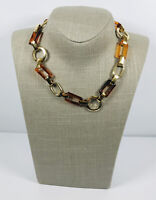 Vintage Choker Necklace Gold Tone & Brown Plastic Links Fun Retro Kitsch Costume