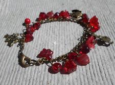 Pulseras Artesanales ~ ~ encantos de Cristal Rojo Y Bronce