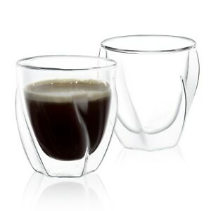 JoyJolt Lacey Double Wall Insulated Glasses, 8.5 Oz Set of Two Coffee Mugs