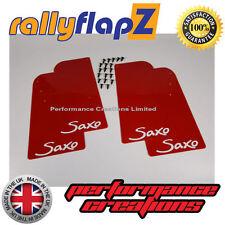 Rally mudflaps Citroen Saxo (1996-2003) Barro Solapas X 4 Rojo 4 Mm De Pvc con logotipo en blanco