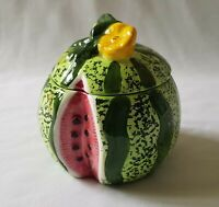 CUTE LITTLE NOVELTY HAND PAINTED WATERMELON POTTERY BOWL WITH LID