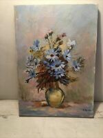 "10""x14"" Original Oil? Painting Artist M Darth Blue Daisys In Vase Still Life VTG"