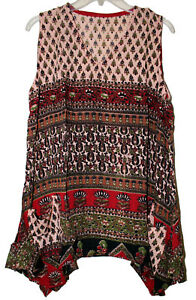 Indian Rayon Top Blouse Blusa Ethnic Boho Hippie Retro Gypsy Size One Crinkle