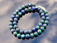 Azurite Natural Gemstone Necklace 8mm Beaded Silver 16-30inch Healing Chakra