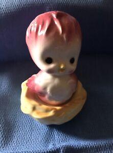 Vintage Anthropomorphic Pink Bird In A Nest Salt & Pepper Set Japan Made