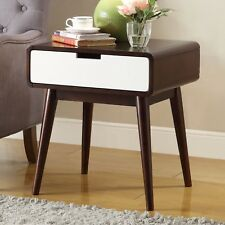 Retro Side Table Wood Mid Century Modern End Tables Nightstand Walnut White