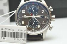 Alpina Startimer Pilot Matte Military Automatic 44mm Watch Calf Leather Strap