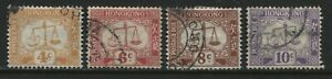 Hong Kong 1938-46 Postage Dues 4 cents to 10 cents used