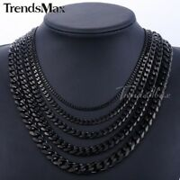 3-11mm Mens Stainless Steel Black Tone Curb Cuban Link Chain Necklace Bracelet