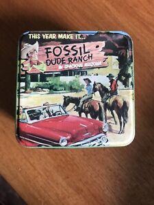 Fossil Metal watch tin Dude Ranch 2001 tin