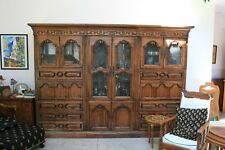 Mahogany crystal hutch and bookcase combo with two leather fold down desks