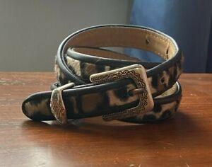 Brighton Vtg Leopard Black Leather Trim Engraved Silver Hardware Waist Belt XS