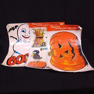Vintage Halloween Window Clings Lot of 3 Ghost Pumpkin Scarecrow 80s