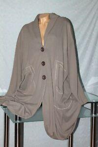 Eleganter Stretchmantel Long Shirt Mantel Raffungen taupe 52 54 56 58 NEU!!
