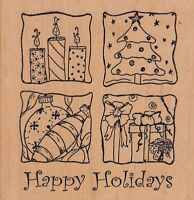 """happy holidays amer art Wood Mounted Rubber Stamp  4 1/2 x 4 1/2"""" Free Shipping"""