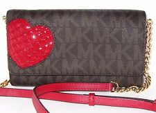 Michael Kors Jet Set Large Phone Crossbody Wallet Red Heart Brown Valentines NWT