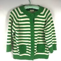 LL Bean Women's Striped Cotton 3/4 Sleeve Cardigan Sweater Green White Size M