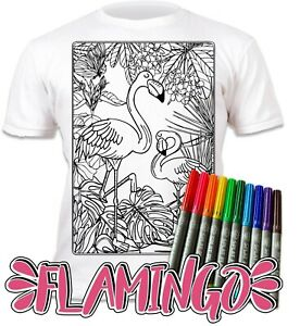 Splat Planet Colour-in Flamingo T-Shirt with 10 Non-Toxic Washable Magic Pens