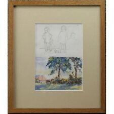 VINTAGE ORIGINALE Alexander strahan BUCHANAN Bambini Cavalli dipinto ad acquerello