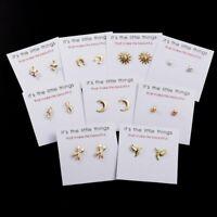 Charm Women Boho Gold Card Pearl Ear Stud Earrings Statement Wedding Jewelry