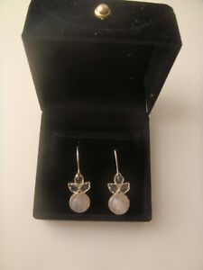 SILVER EARRINGS IN BOX , NEVER WORN , PALE PINK STONES