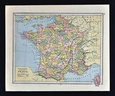 1885 Watson Map - France - Paris Marseille Pyrenees Seine Tour de Loire Lyon
