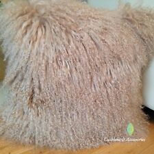 40 x 40CM GENUINE MONGOLIAN SHEEPSKIN LAMB WOOL FUR CUSHION COVER - LIGHT BROWN