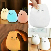 7 Color Changing Cute Silicone Cat Night Light Baby Nursery Bedside Lamp