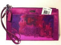 COACH OCCASION SEQUIN MULBERRY PARTY WRISTLET CLUTCH BAG F49887 NWT $148.00!