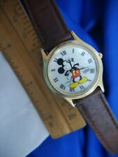 LORUS DISNEY MICKEY MOUSE V500 7A30 BROWN BAND GOLD TONE WATCH, NEW BATT A40