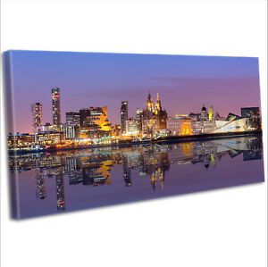 Liverpool Over The Mersey Skyline Canvas Print Panoramic Framed Wall Art Picture