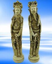 China Kaiser Paar Speckstein Polystein Elfenbein farbig H.42x8cm Deko Geschenk