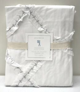 NEW Pottery Barn KIDS Fashionista Ruffle TWIN Duvet Cover~White w/Silver