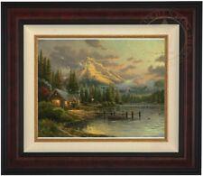 Thomas Kinkade Lakeside Hideaway 16 x 20 LE S/N Canvas (Burl Frame)