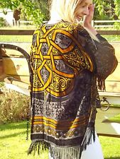 DIVINE BOHEMIAN FRINGED KIMONO WRAP COAT HIPPIE GYPSY BOHO 8 10 12 14 NEW JACKET