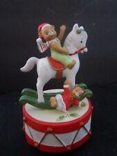 Vtg Lefton 1983 Honey Bears Rocking Horse on Drum Music Box Christmas Figurine