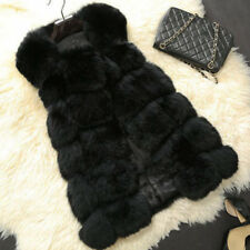 Jacket Coat Warm Gilet Outwear Vest Faux Fox Fur Womens Long Slim Waistcoat 8-16