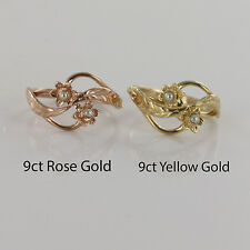 9ct Rose Or Yellow Gold Welsh Design Ring with Daffodil Flower Pearl Set
