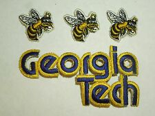 Lot of 4 Georgia Tech Yellow Jackets School Mascot Bold Text Iron On Patches #2