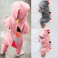 Infant Baby Girl Boys Long Sleeve Bodysuit Romper Dinosaur Jumpsuit Babygrows AB