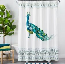 Opalhouse Peacock Print Shower Curtain ~ 72 × 72 ~ Teal Green Yellow White