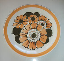 Dinner Plate Large Florals Orange Burst Pattern Hara Japan 1970s/80s