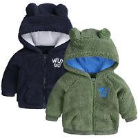 Winter Newborn Baby Girls Boys Warm Outwear Hooded Ears Coat Fleece Tops Jacket