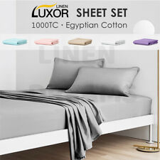 1000TC Egyptian Cotton Sheet Set or Doona Cover Set / Fitted Sheet Flat All Size