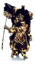 "Black Mardi Gras Jester Doll 7"" Leopard with stand"